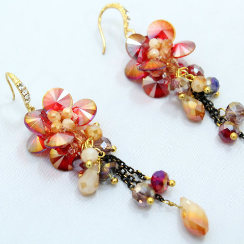 Fabiola - Clustered Crystal Bead Drop Earrings