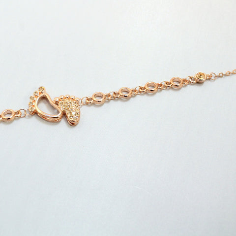 Pita Pata - Rose Gold Plated and Crystal Baby Feet Bracelet
