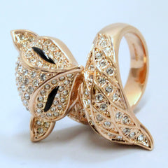 Foxy - Rose Gold plated and crystal fox ring