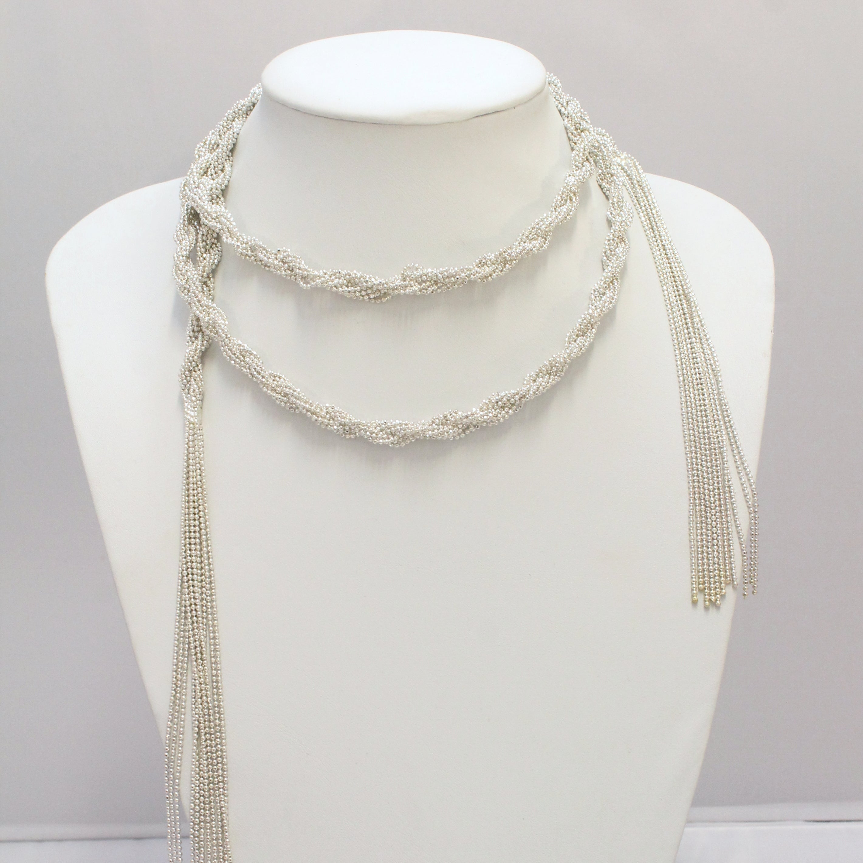 wrap bow pearl gray lariat boho suede grey silver black choker necklace product brown