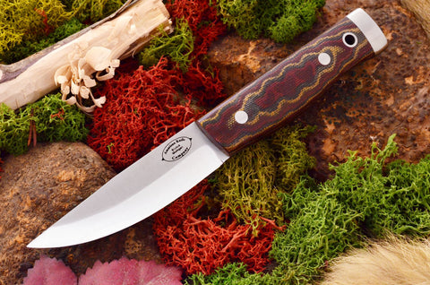 Compact Forest Knife Burgundy Snakeskin Canvas Micarta Matte