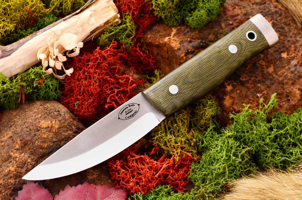 Compact Forest Knife Green Canvas Micarta Matte