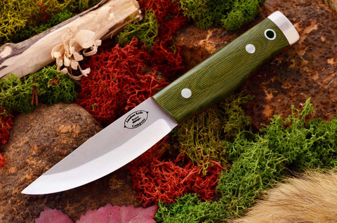 Compact Forest Knife Green Canvas Micarta Red Liners