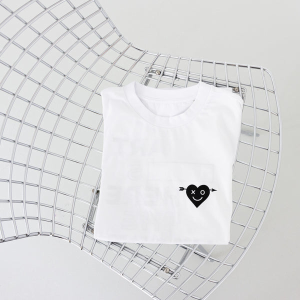 ART IS WHERE THE HEART IS - MAN - WHITE SHIRT - BLACK HEART