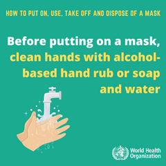 World Health Organization – Clean your ands before putting on a mask