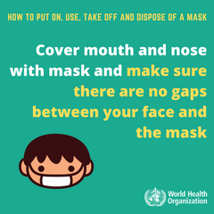 World Health Organization – Ensure no gaps between your face and the mask