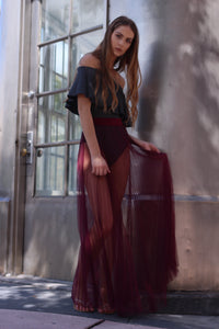Nickie Sheer Maxi Pleated Skirt (Burgundy)