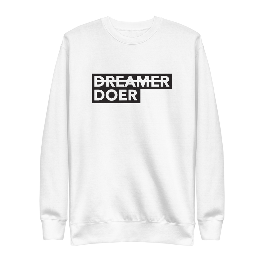 Doer Pullover - Motivational Activist Sweatshirt - White | District of Clothing - Social Awareness Clothing | Black Woman Owned Company