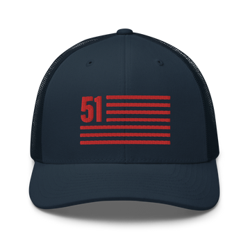 51 - Washington D.C. Statehood Flag Hat - Navy | District of Clothing - DC 51st State T-Shirts & Hats | Black Owned Business