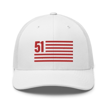 51 - Washington D.C. Statehood Flag Hat - White | District of Clothing - DC 51st State T-Shirts & Hats | Black Owned Business