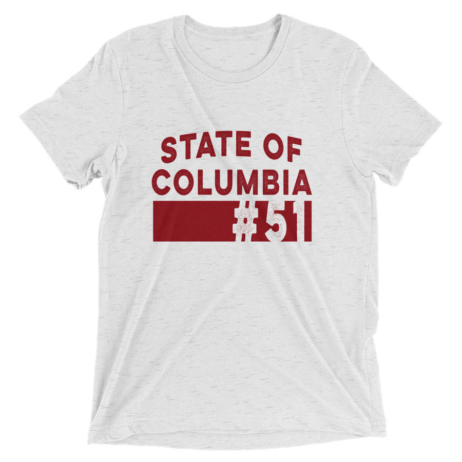 State of Columbia - Washington D.C. Statehood T-Shirt White Fleck Triblend | District of Clothing - DC 51st State T-Shirts & Hats | Black Owned Business