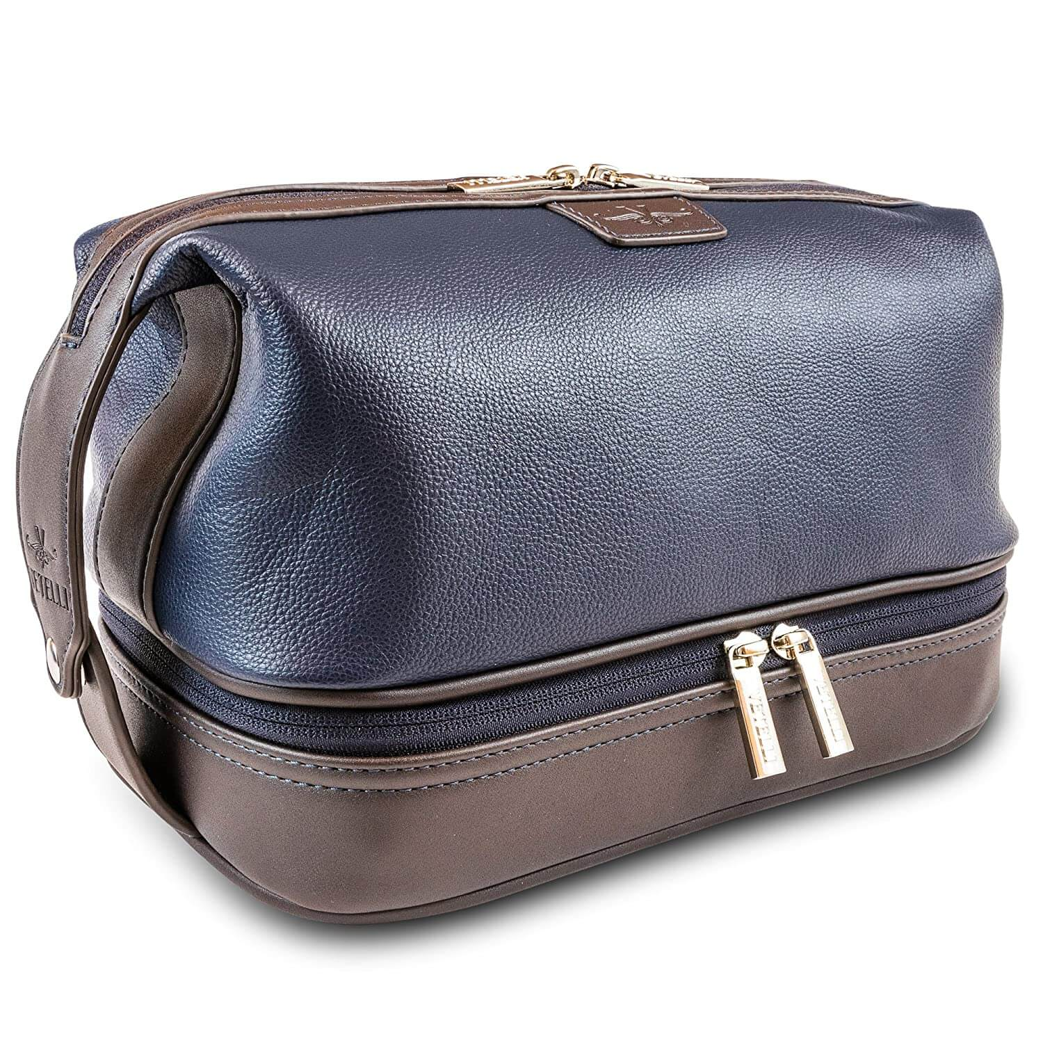 Vetelli Leo Large Mens Leather Toiletry & Shave Bag