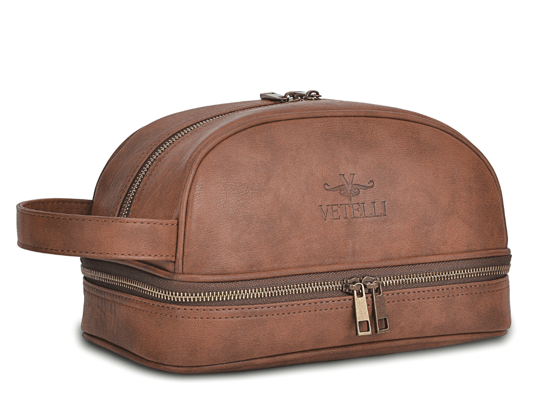 Vetelli Classic Leather Toiletry Bag & Travel Dopp Kit
