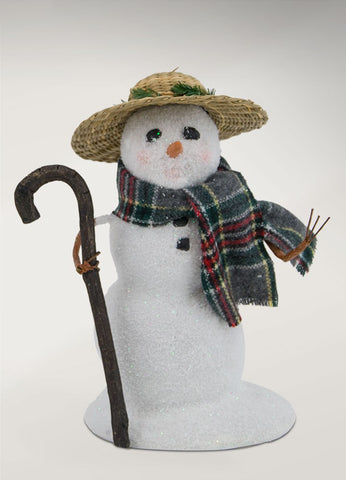 Snowman with Straw Hat