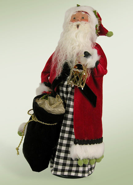 Byers Choice Santa with Black & white Check