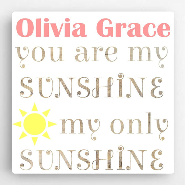 Personalized You Are My Sunshine Nursery Art | 119 Gift Co.