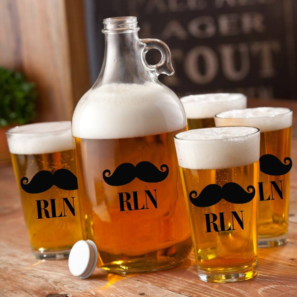 Custom Mustache Growler Set - Pick Your Mustache-Barware-119 Gift Co.