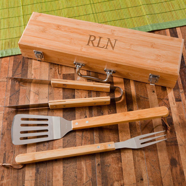 Personalized Grill Set - Bamboo - 4 Piece Set | 119 Gift Co.