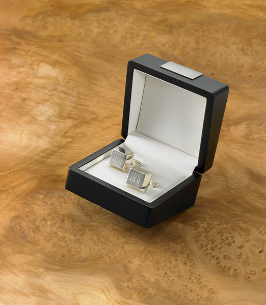 Engraved Silver Cufflinks with Box-Cufflinks-119 Gift Co.