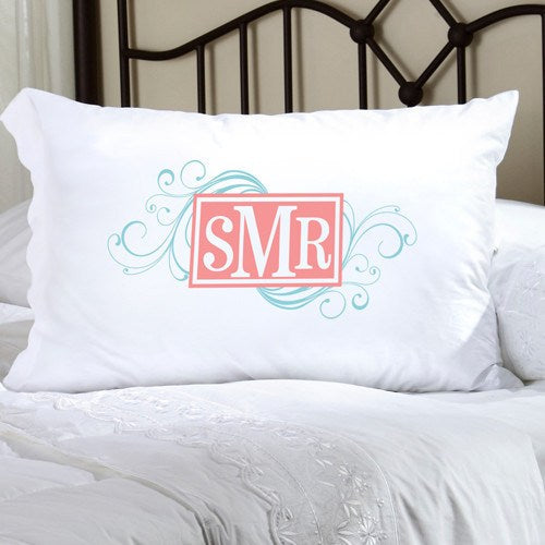 Monogrammed Pillow Case - Aqua/Coral | 119 Gift Co.