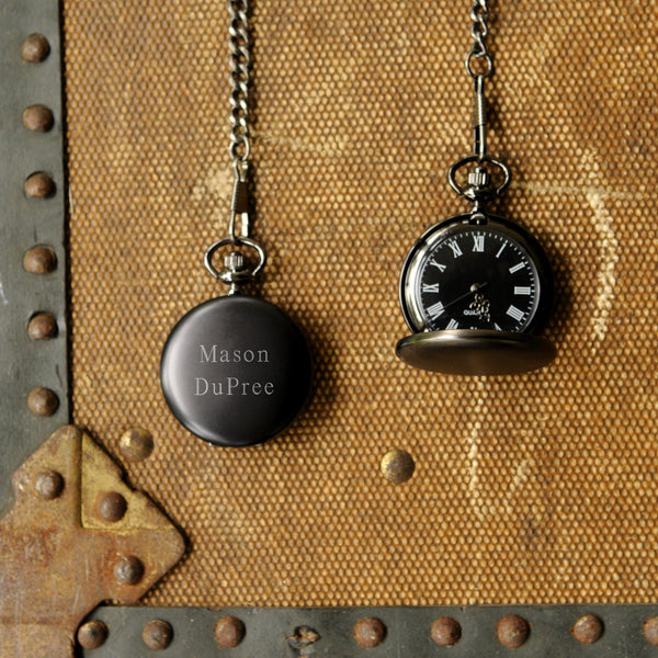 Personalized Pocket Watch - Black | 119 Gift Co.