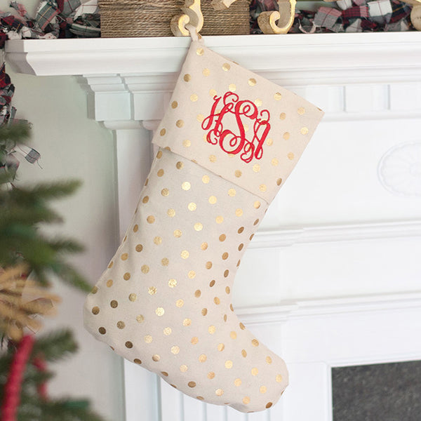 Gold Polka Dot Christmas Stocking with Personalization | 119 Gift Co.