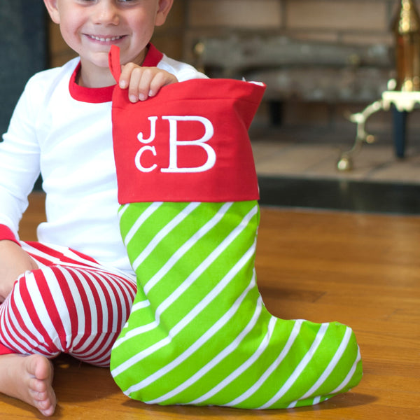 Monogrammed Christmas Stocking | Green Stripes | 19 Gift Co.