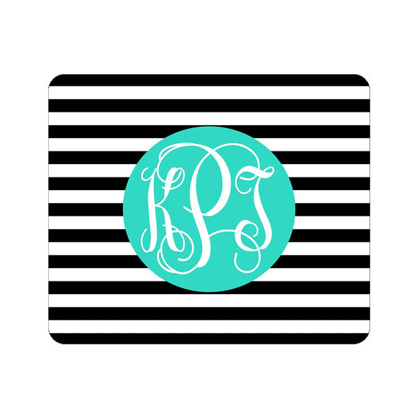 Monogrammed Mouse Pad | Black Stripe | 119 Gift Co.