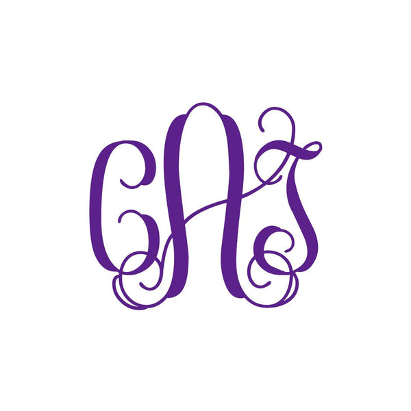 "Interlocking Monogram Vinyl Decal | 5"" Purple 