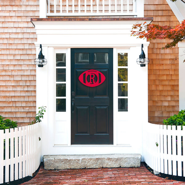 Unfinished Wooden Monogram | Football on Front Door | 119 Gift Co.