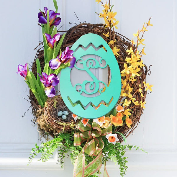 Unfinished Wooden Monogram | Easter Egg on Front Door | 119 Gift Co.