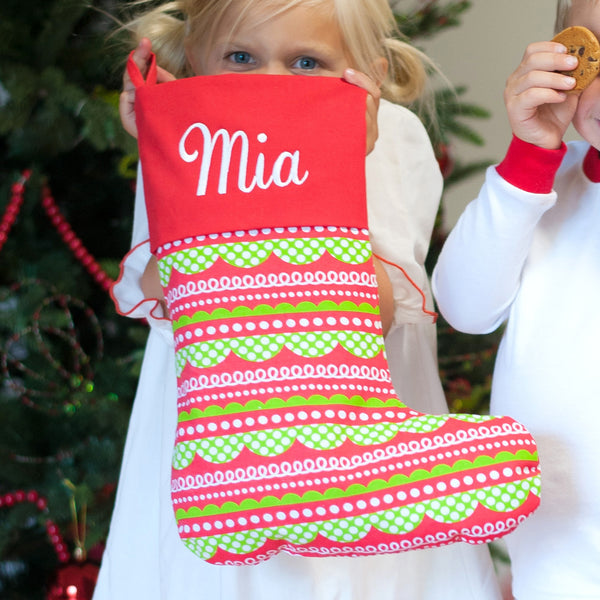 Jolly Christmas Stocking with Embroidered Name | 119 Gift Co.