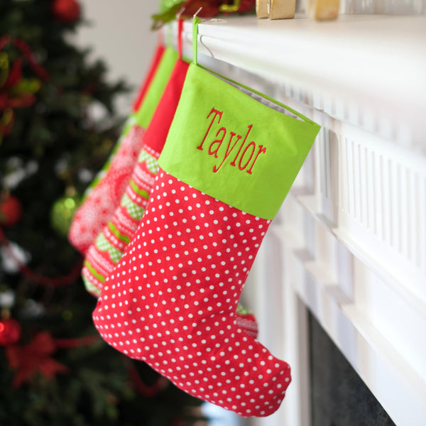 Monogrammed Christmas Stocking | Red Polka Dot Mix and Match | 119 Gift Co.