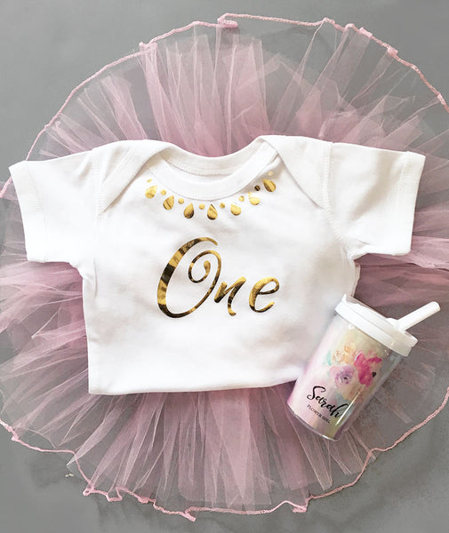 White First Birthday Baby Bodysuit with Faux Necklace
