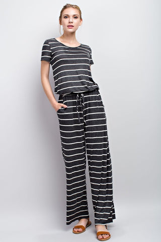 Marlee Stripe Jumpsuit Charcoal