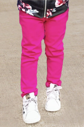 Girls Skinny Pants Hot Pink