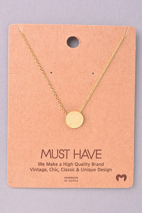 Dainty Brushed Disc Necklace