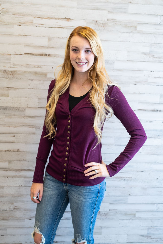 Carolina Dark Plum Cardigan