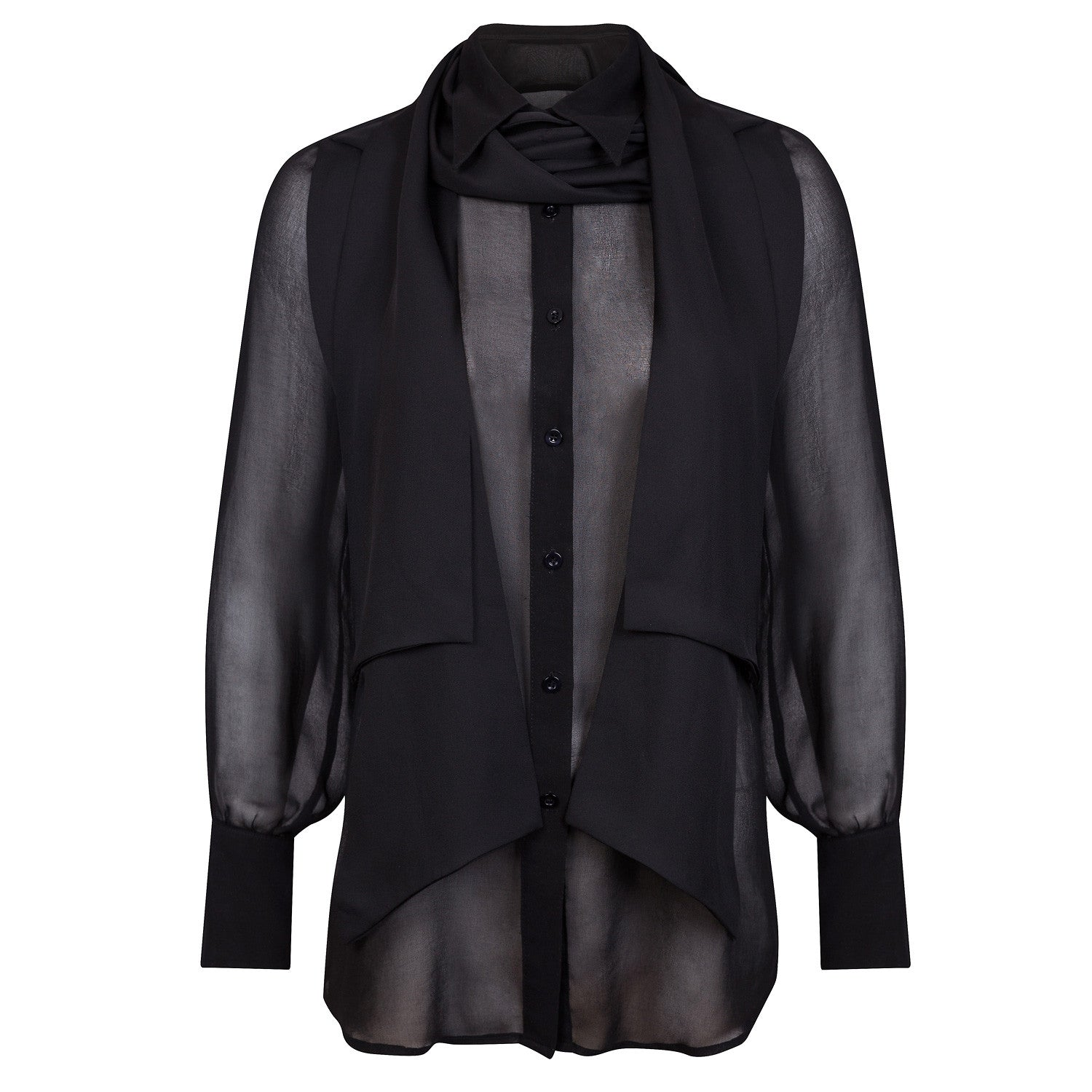 BLACK SILK COTTON SHIRT
