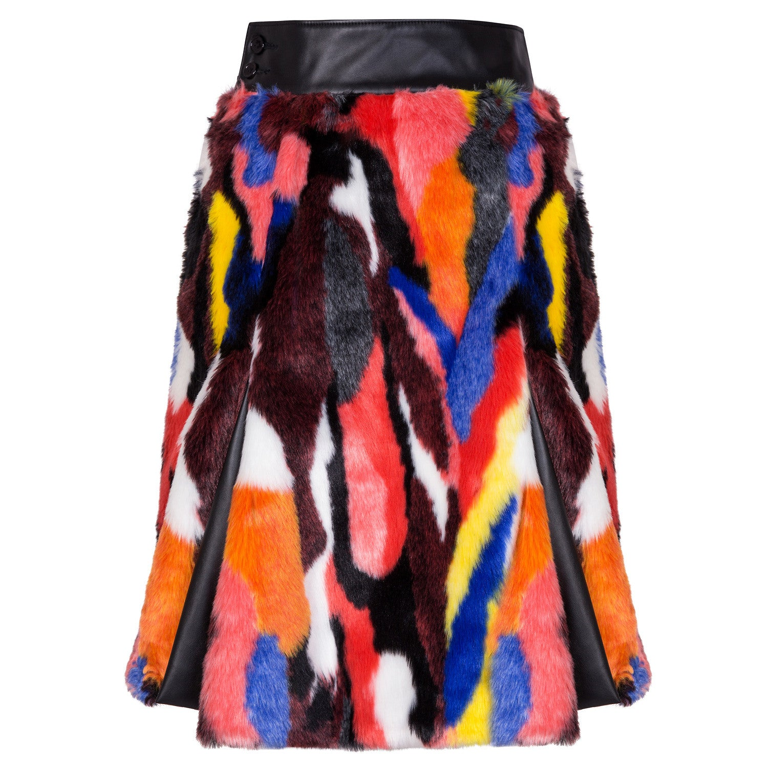 MULTI COLOUR FAUX FUR LONG SKIRT