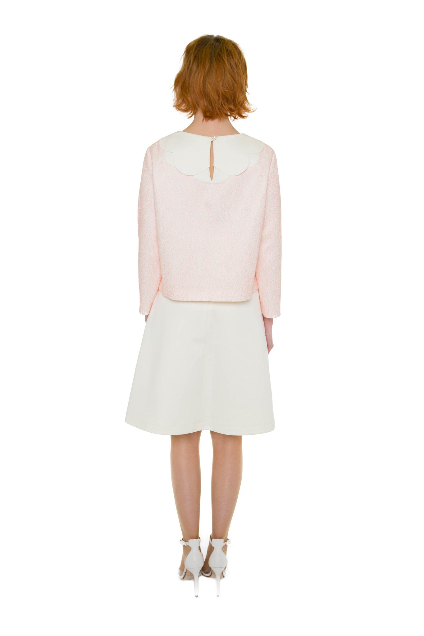 Pink Cloud & Cream color A-line skirt
