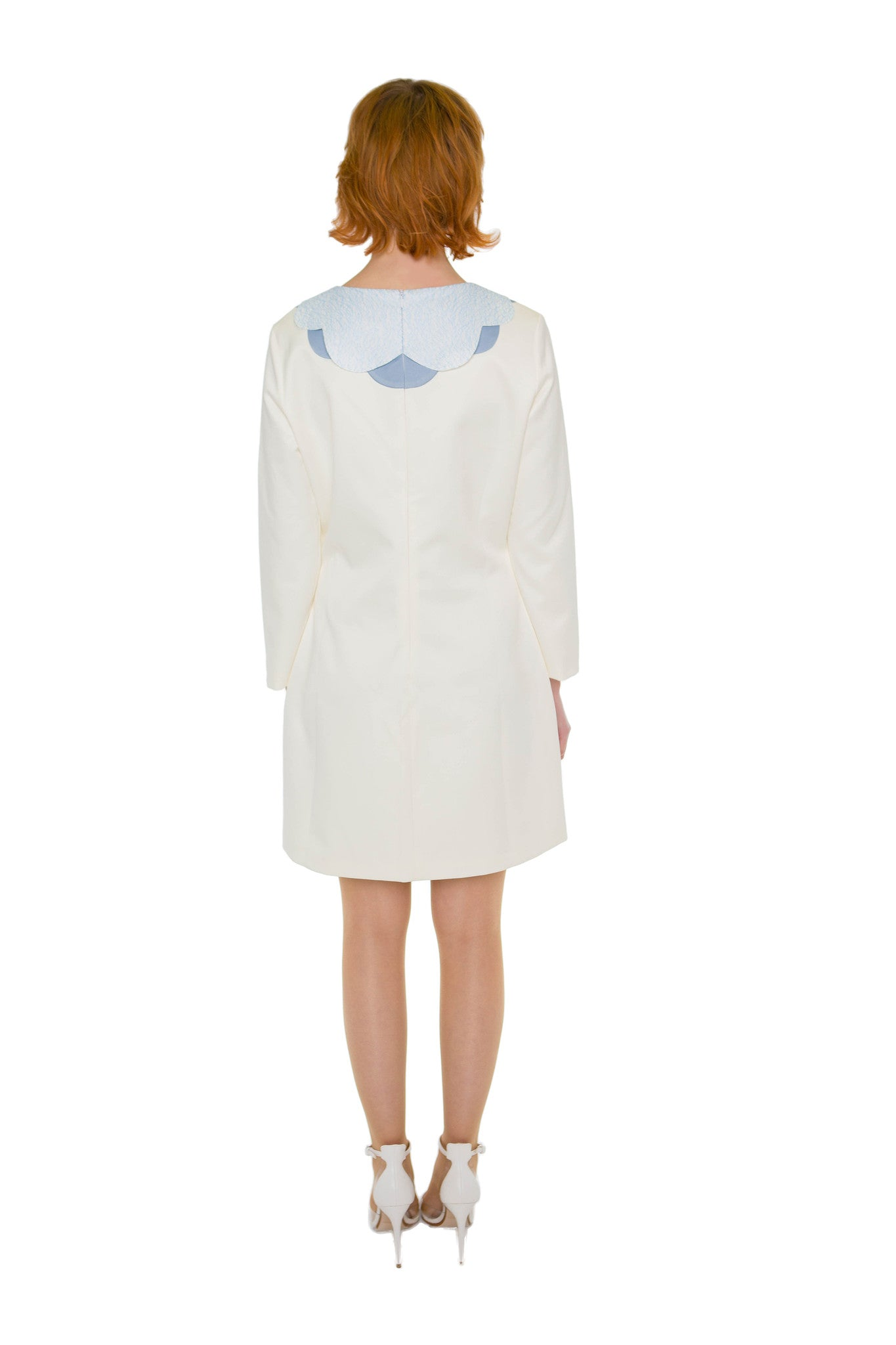 Unique Baby blue Cloud collar cream dress