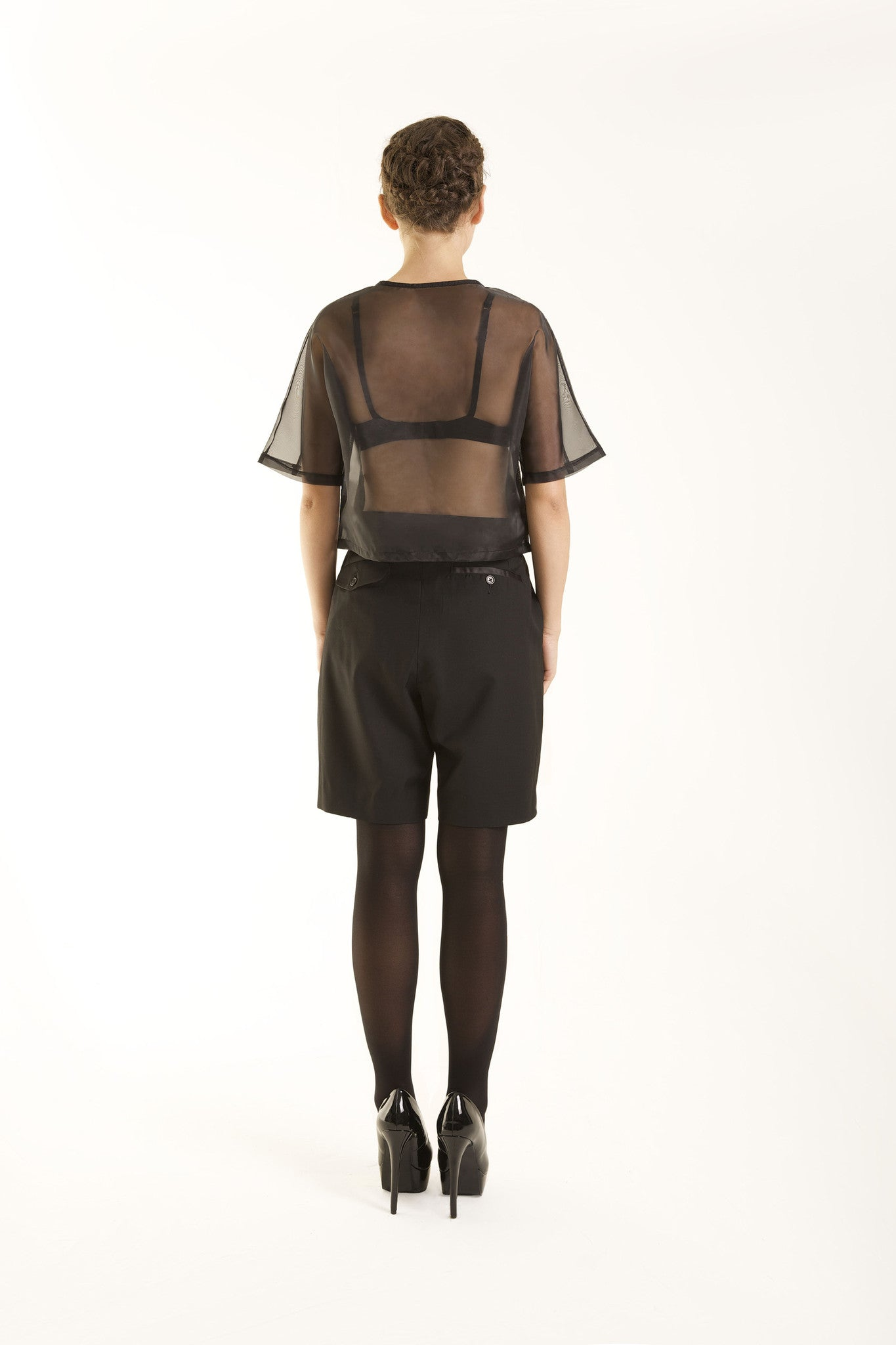 Black double pleats see through top