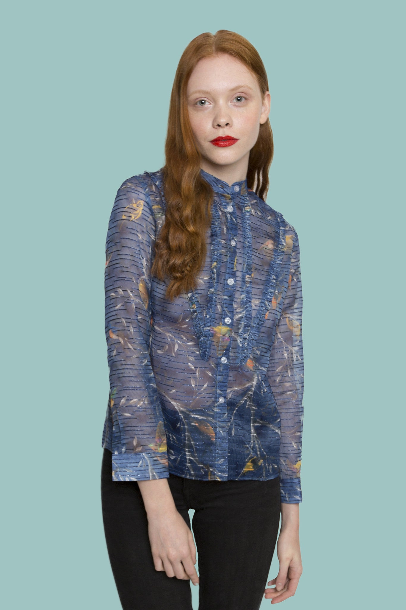 Forest light blue floral long sleeve shirt