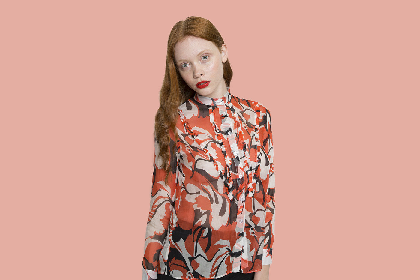 Forest dark orange flower long sleeve shirt