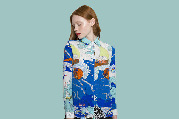 Forest Deep in the sea print long sleeve shirt
