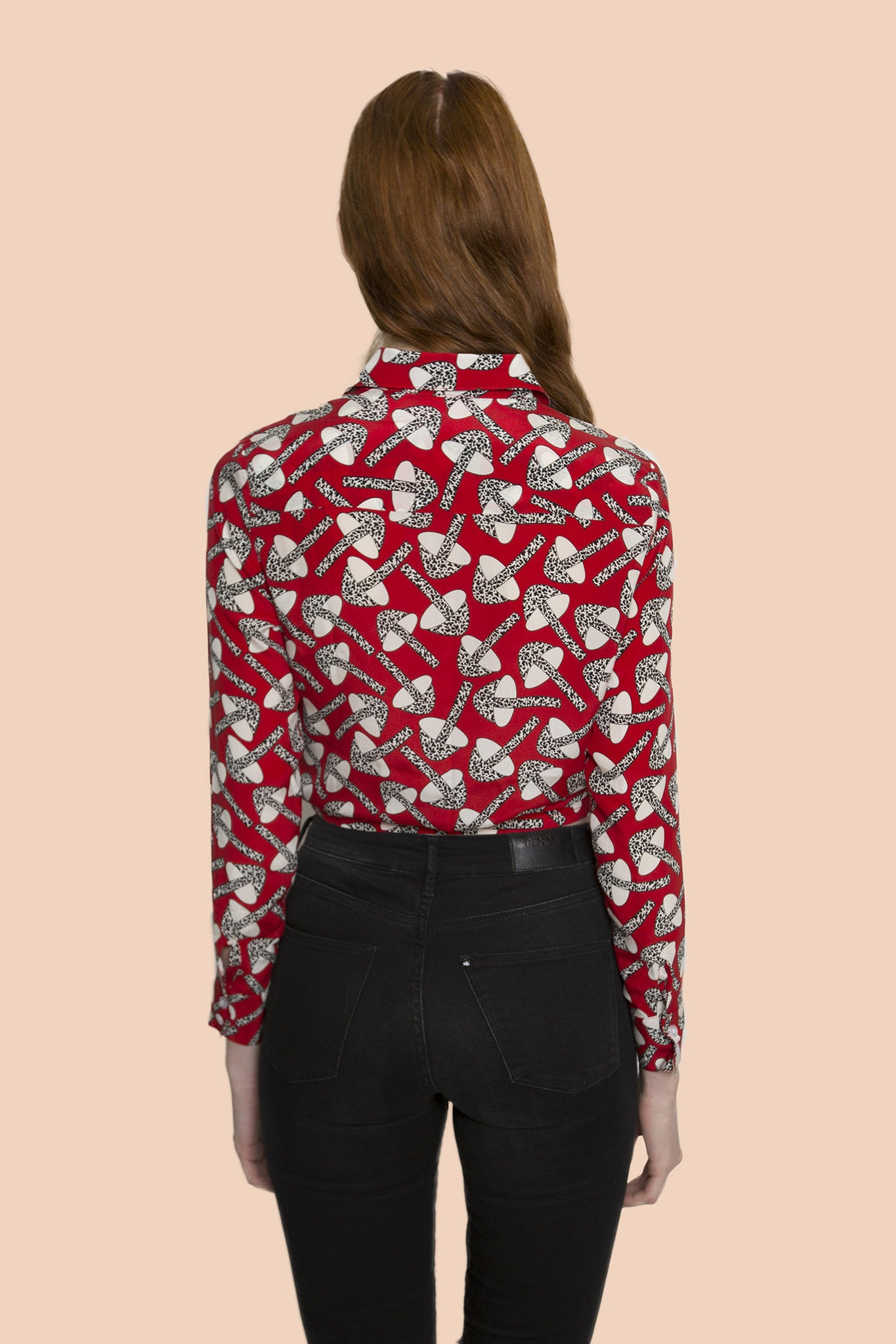 Forest Mushroom design red tone long sleeve shirt