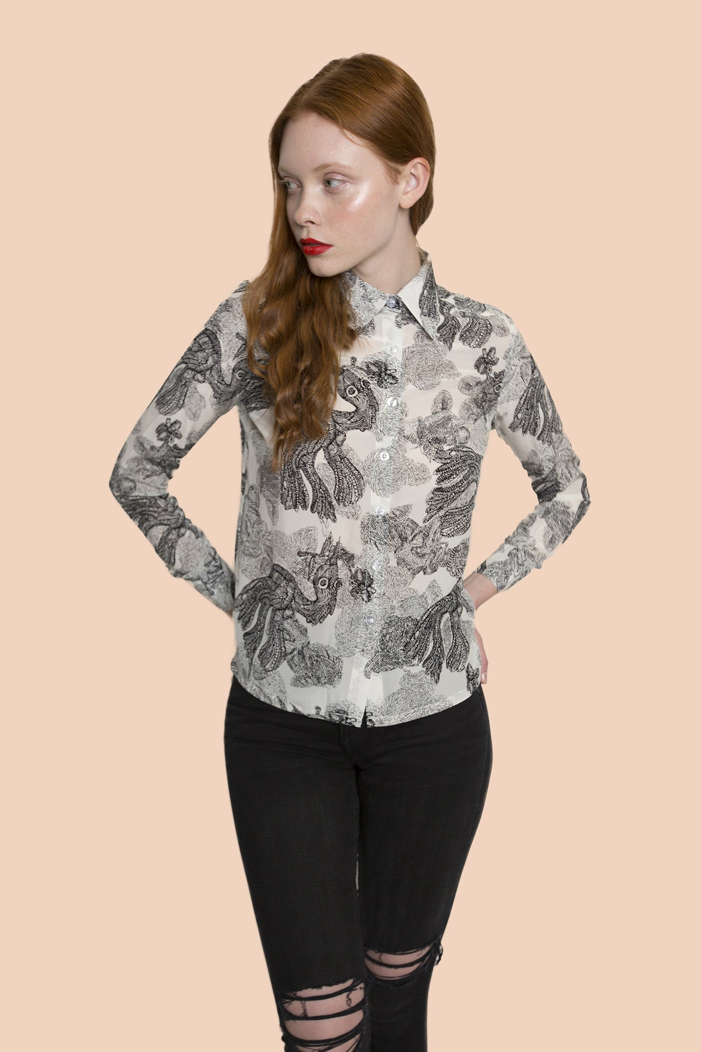 Forest Black & white looming effect long sleeve shirt
