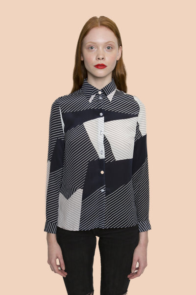 Forest Black n White strip long sleeve shirt