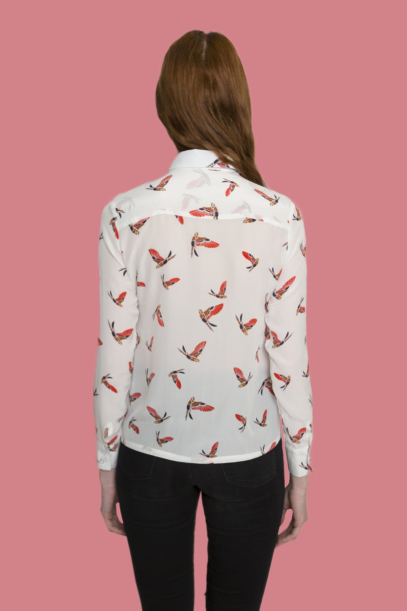 Forest Red bird design long sleeve shirt